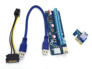 PCIe 16x to 1x PCIe USB 3.0 Riser card adapter v006c with Capacitor / Voltage Regulator (Ethereum/Zcash/Bitcoin Mining)