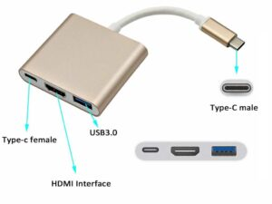 USB 3.1 Male Type_C to HDMI Female + USB 3.1 Female Type_C + USB 3.0 Female adapter -  Thunderbolt 3 Compatible for USB Type_C Smartphones (Samsung/Hauwei) to HDTV / Macbook / Lenovo / Dell- 4K UltraHD