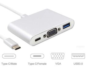 USB 3.1 Male Type_C to VGA (D-Sub / HD15) Female + USB 3.1 female Type_C and USB 3.0 OTG adapter - Thunderbolt 3 Compatible for Chromebook/Macbook/Lenovo/Dell - Support up to 1920 x 1080P / FullHD