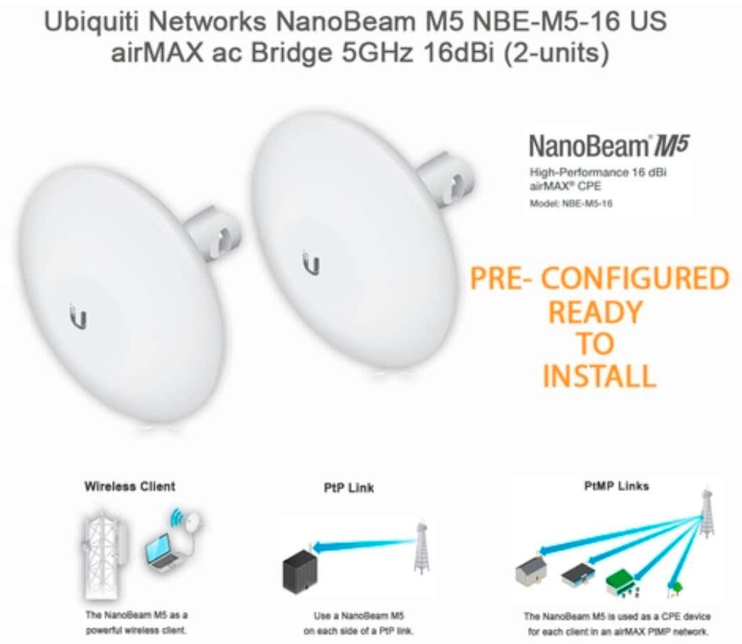 Ubiquiti NanoBeam Outdoor Wireless Network Range Extender up to 10km NBE-M5-16