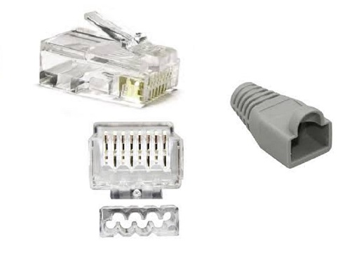 CAT6 / CAT7 RJ45 Unshielded Connector + Boot + Insert for 23-24AWG Cable