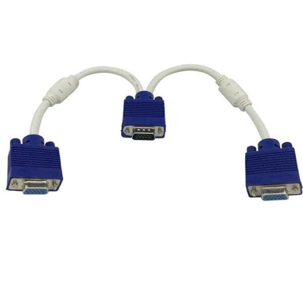 Video Splitter - Male VGA(HD15) to VGA(HD15) Female X 2 (1 PC to 2 Monitors - Gold plated)