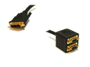 Video Splitter - Male DVI-I to VGA / HD15 Female X 2 (1 PC to 2 Monitors - Gold Plated)
