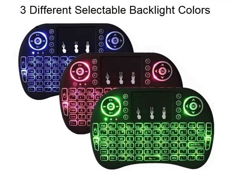 Wifi Mini Keyboard & Touchpad with Selectable Backlight Colors - Uses Lithium rechargeable battery (included) Various Backlit Colors Selectable