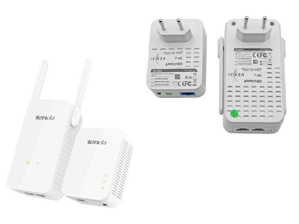 Tenda WIRELESS KIT - Wifi & 1Gbit/s Gigabit Ethernet Network over Powerline  Adapters - Connect 3 Wired and Multiple Wifi Devices over existing