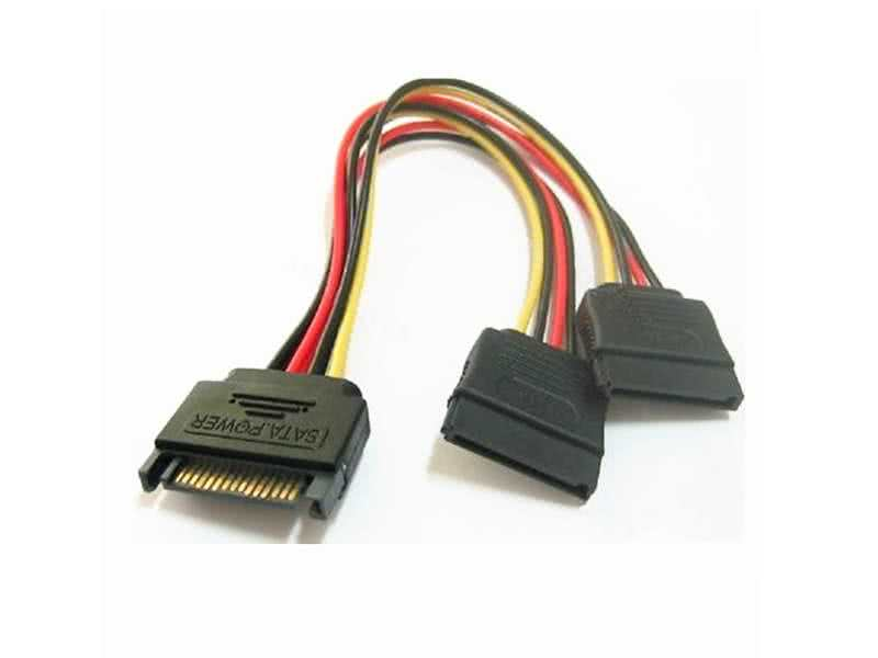 10cm sata power extension/splitter cable Male Sata to 2 x Female sata connectors
