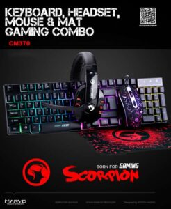 4-in-1 Combo Keyboard and Mouse with Headphones Marvo CM370