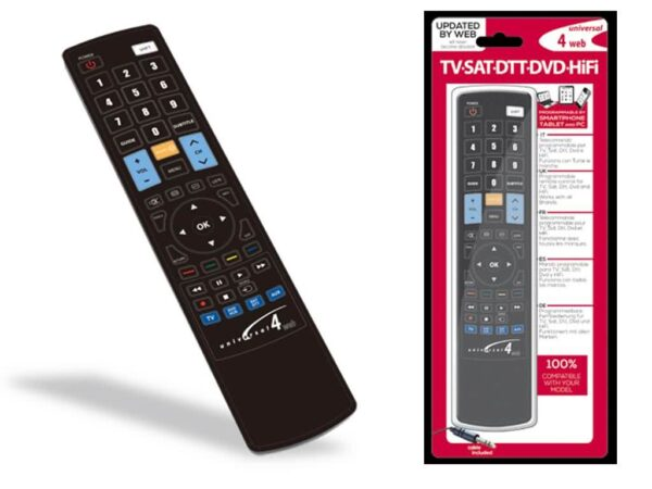 4-in-1 Universal IR Learning Remote Control for TV, Digital Receiver / Amplifier