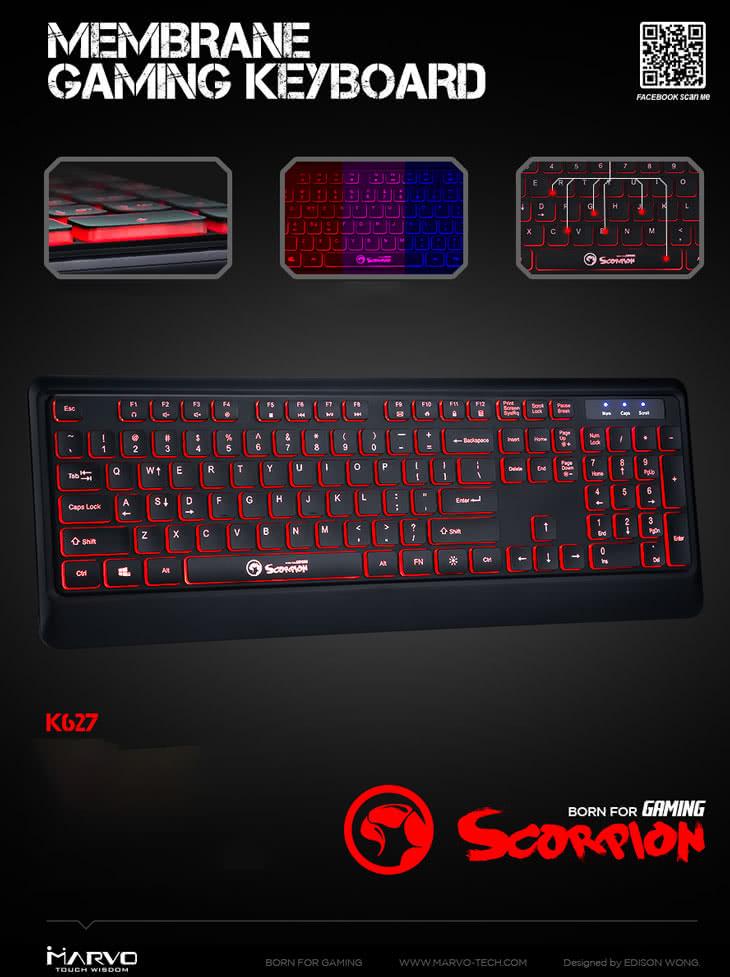 MARVO K627 Membrane Gaming Keyboard / 3-color Backlight