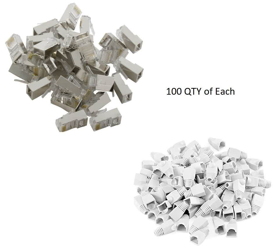 100 Pack RJ45 Shielded Connectors for CAT5e / CAT6 Network Cable incl 100 Boots