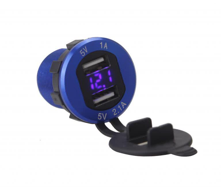 12 Volt to 5 Volt Car / Boat Lighter Socket with LED Volt Meter - Dual USB Charger Socket