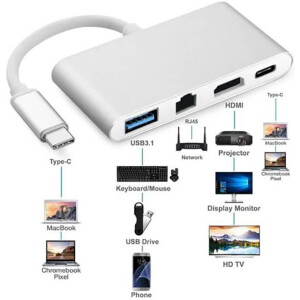 4-in-1 USB Type C Port Replicator / Multi-function Docking Station – USB Type C to HDMI