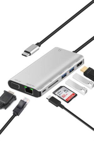 8-in-1 USB C Docking Station / USB Type C Port Replicator – USB Type C to HDMI