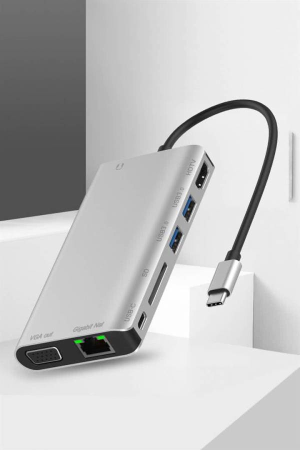 8-in-1 USB Type C Dock Station / Port Replicator - USB Type C to HDMI, VGA, SDCard, Ethernet, USB 3.0 & Type C PD Port 4