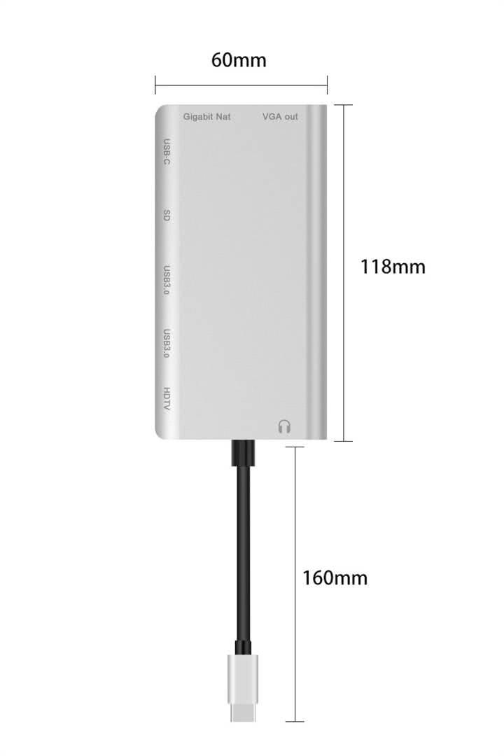 8-in-1 USB C Docking Station / USB Type C Port Replicator - USB Type C to HDMI 5