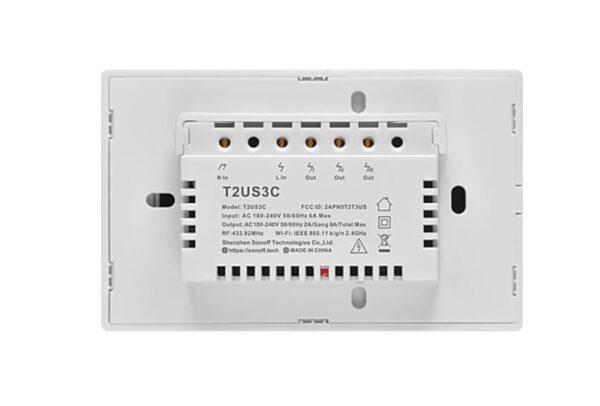 4×2 Size Triple Channel | 3 Button | Wifi Light Switch | Sonoff T2US3C | ITead