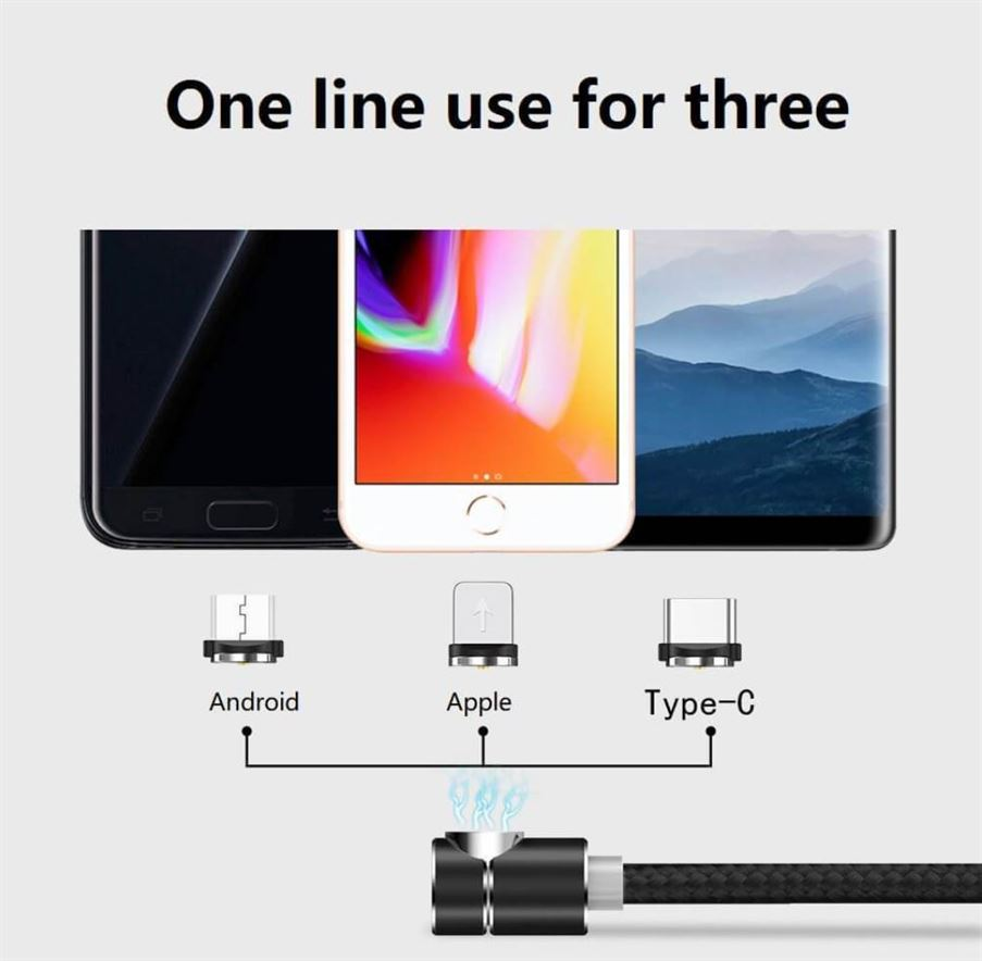 2 Meter Magnetic Charging Cable for Micro USB / Apple Lightning & USB Type C Connector Smartphones or Tablets