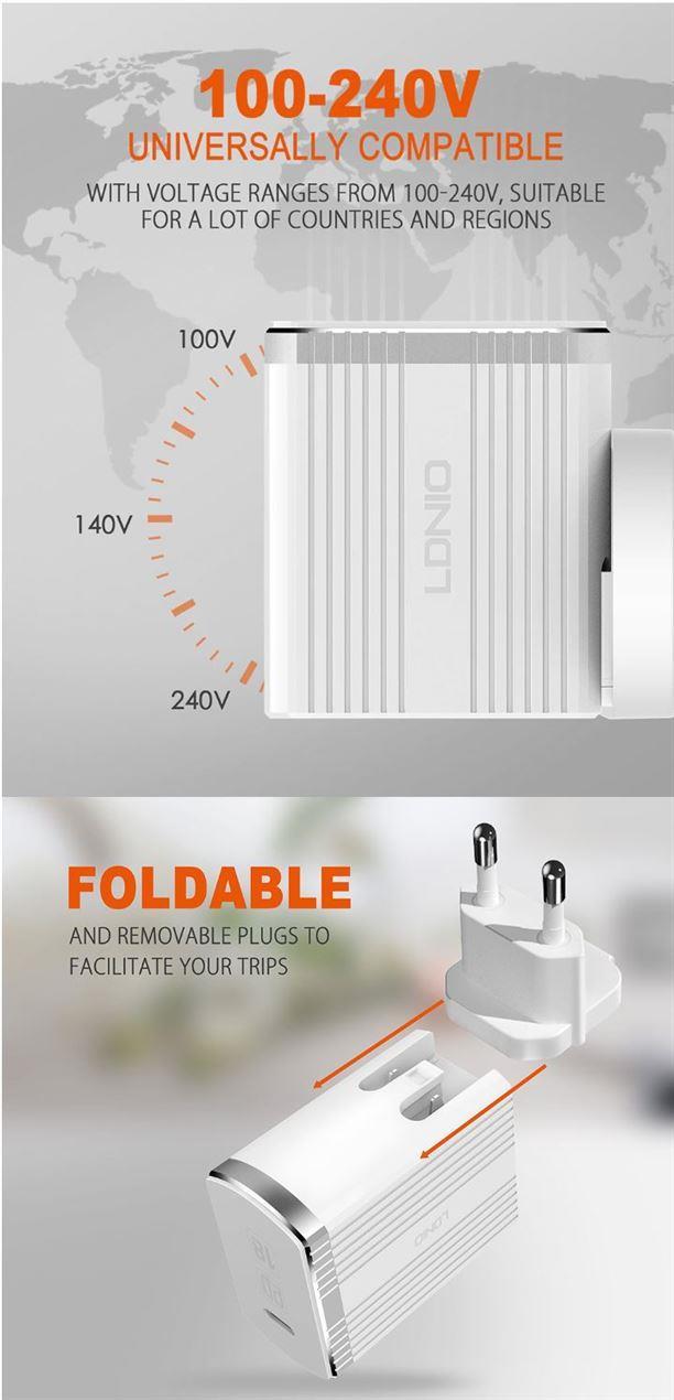 18 Watt Adaptive Fast Charger USB Type C | LDNIO