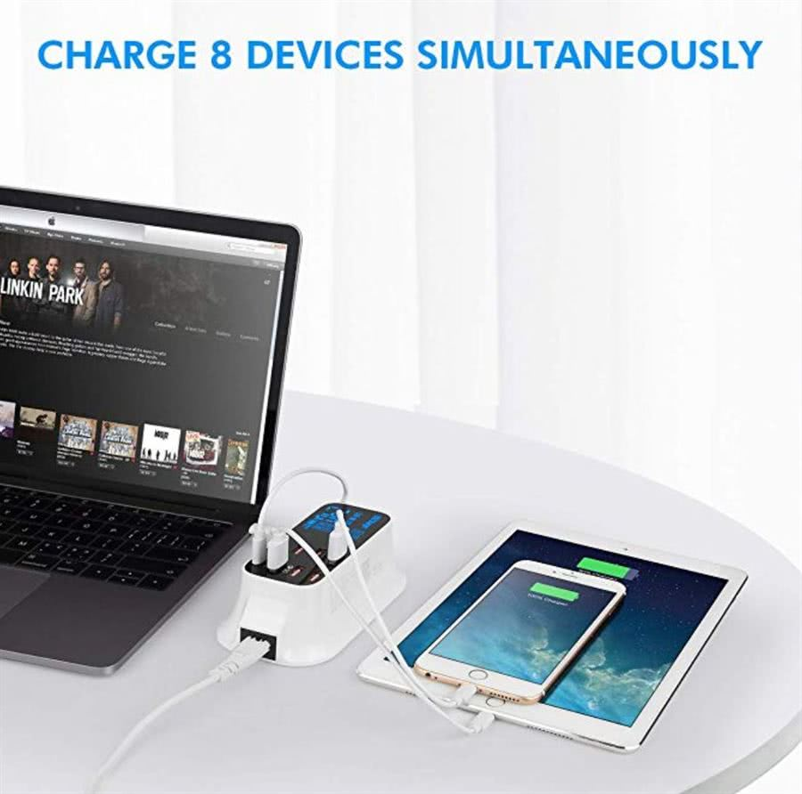 8 Port USB 40 Watt SuperCharge / Adaptive Fast Charger with LCD Display | Multiple USB Charging Station