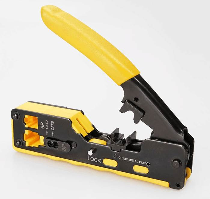 Ez Rj45 Crimper Tool For Cat6 Cat7 Network Connectors With Cable Passthrough