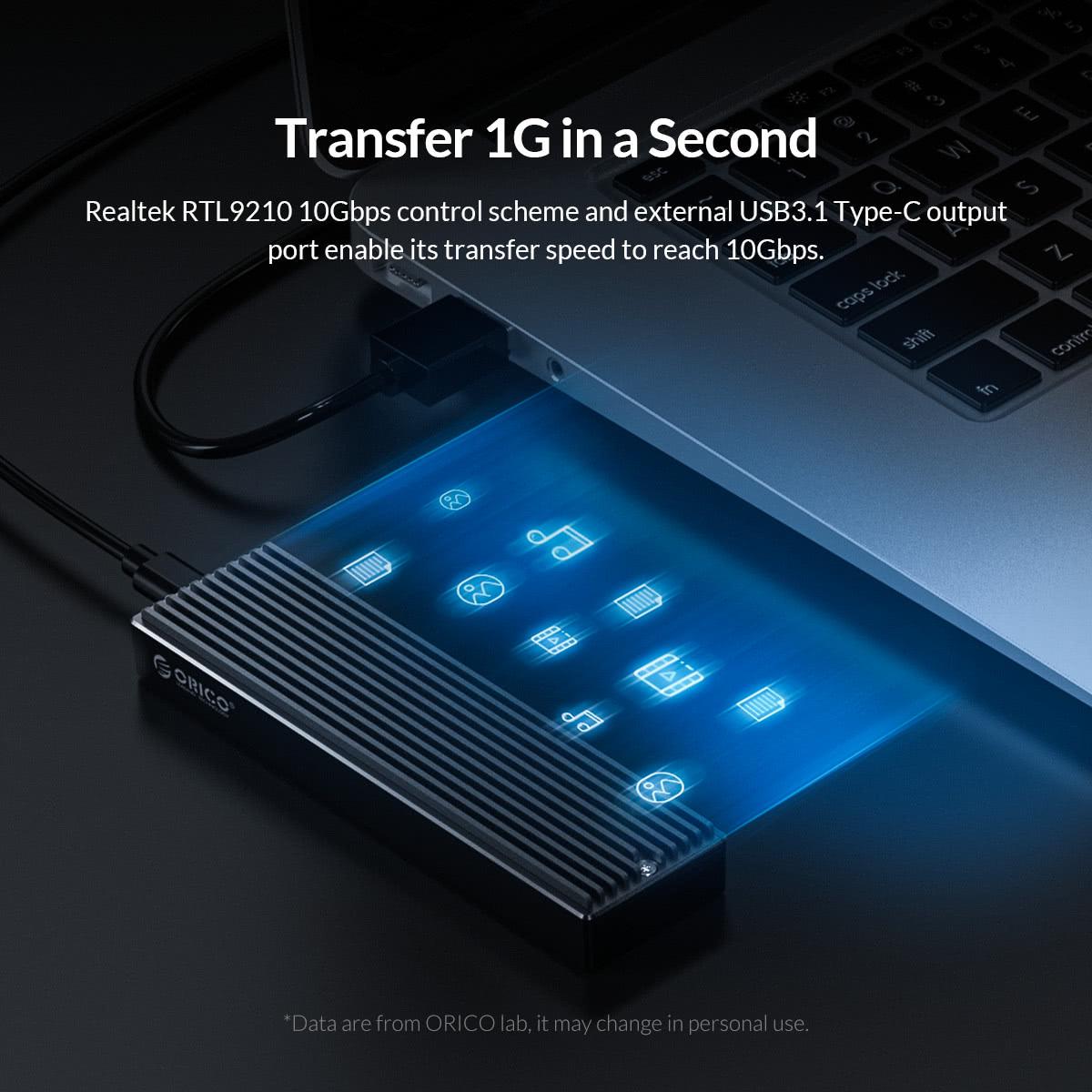 External USB Type C to M.2 NVME PCIe x2 or x4 M Key | USB 3.1 Enclosure | Orico