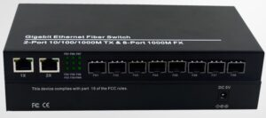10 Port SFP Gigabit Fiber Media Converter with 8xSFP 1.25Gbps Ports & 2 x Gigabit RJ45 Network Ports