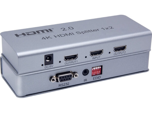 HDR 4k Ultra HD 1×2 HDMI v2.0 Splitter with RS232 Port and Infrared Support
