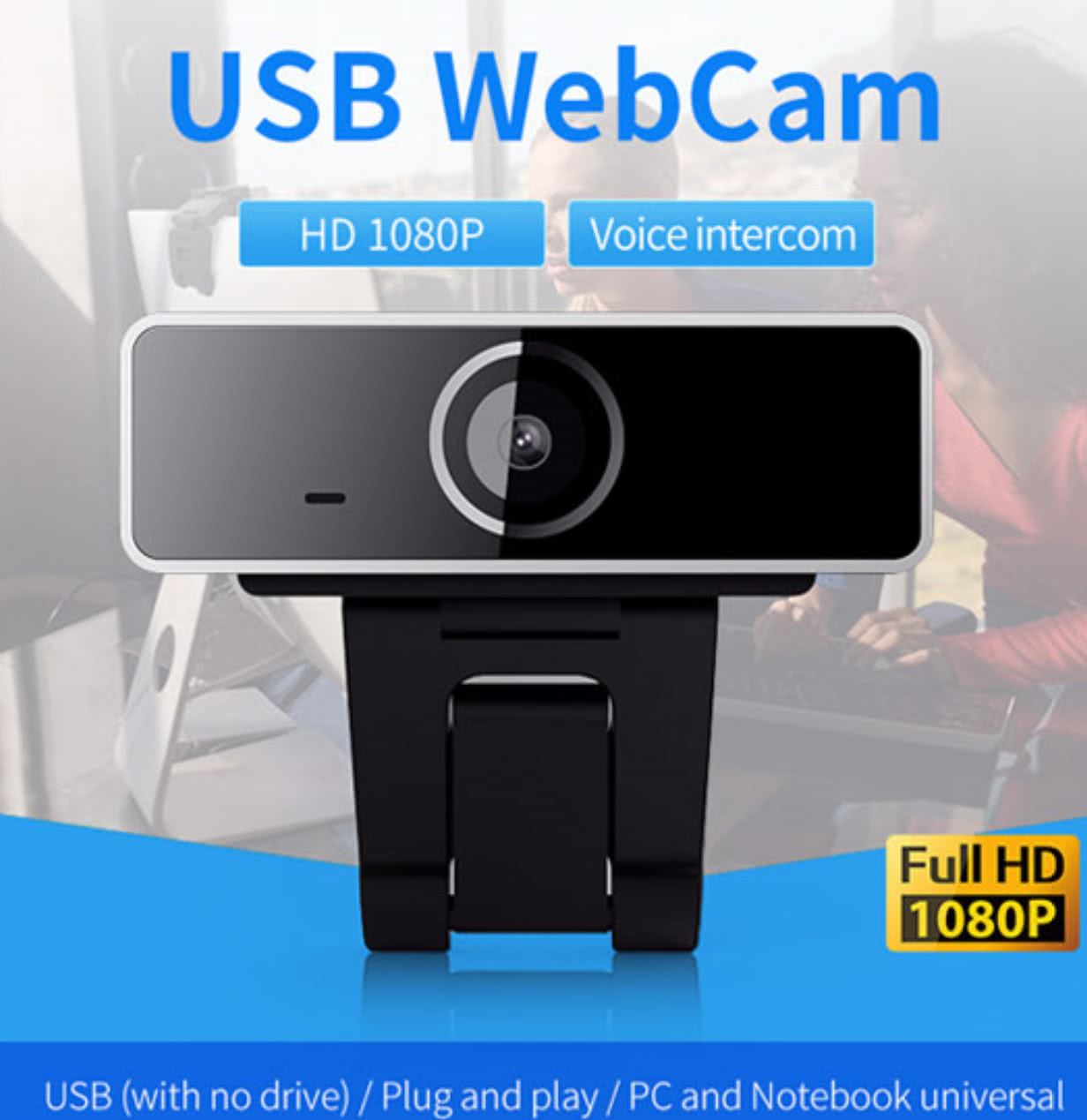USB 1080p H.264 Full HD Webcam for PC / Notebook with built-in 48dB Microphone | Full HD CMOS Sensor