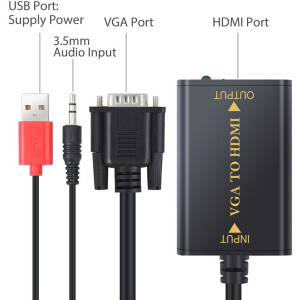 Male VGA to HDMI Female Cable | 20cm Length | USB Powered