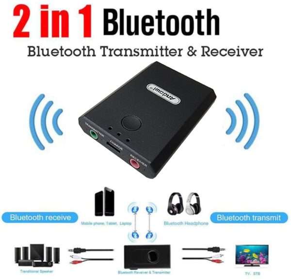 2-in-1 Bluetooth Audio Transmitter or Receiver | 3.5mm Wireless Audio Adapter | Built-in Rechargeable battery