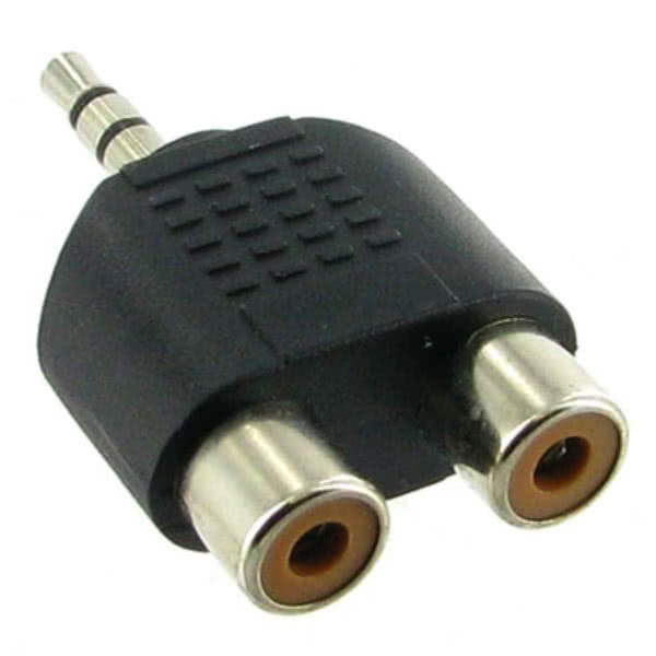 3.5mm Stereo Jack Plug to 2x RCA Female Adapter