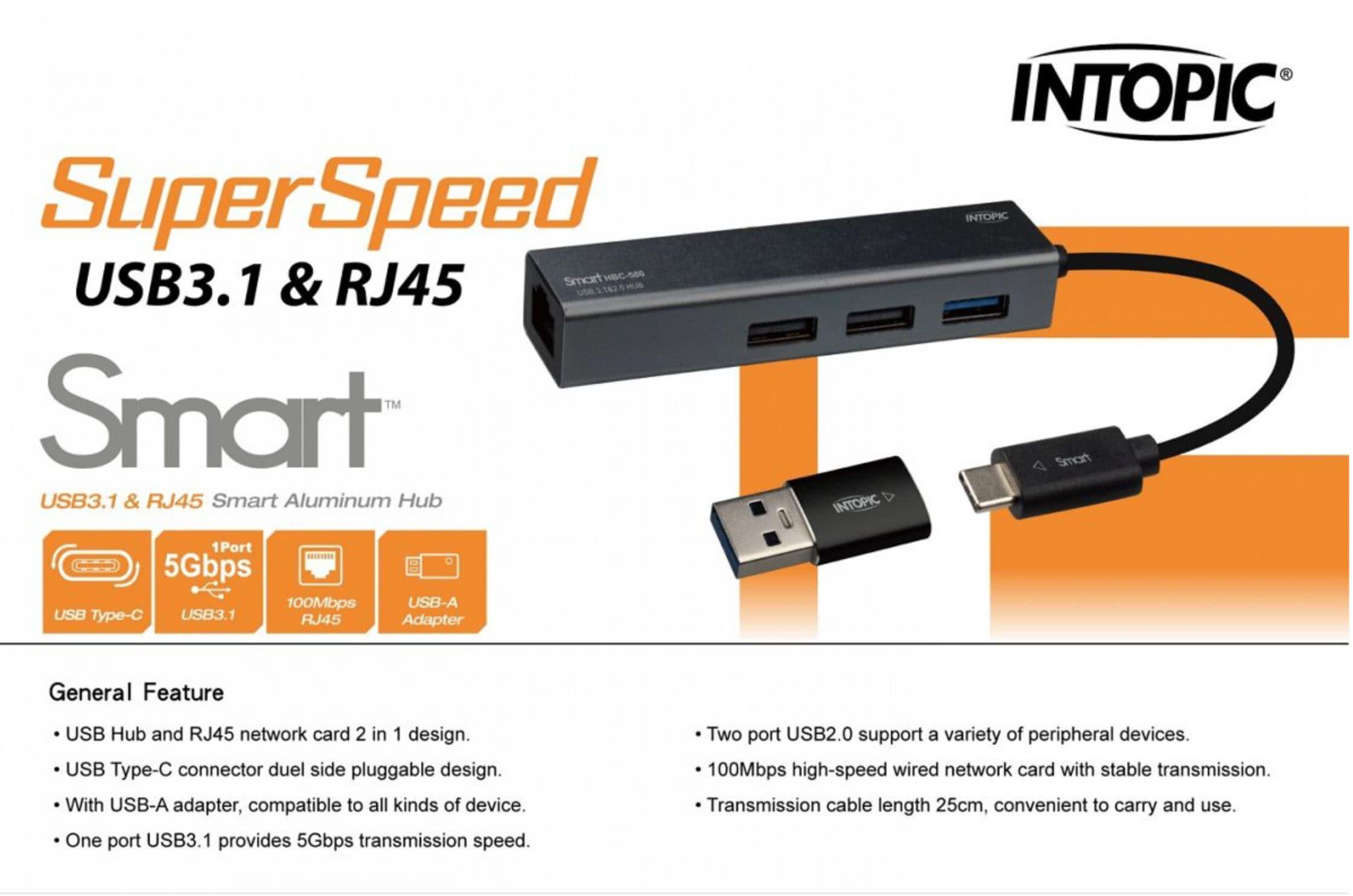 Combo USB 3.1 Type C Hub | 2x USB 2.0 + 1x USB 3.0 Hub with RJ45 Network Port | Intopic