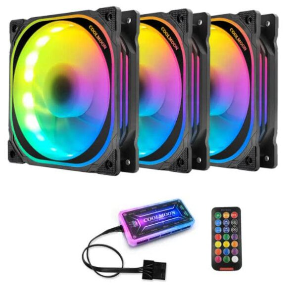 120mm PC LED Fan Kit (3 Fans) with Controller and Remote | RGB Computer Case Cooling Fan Kit | Coolmoon