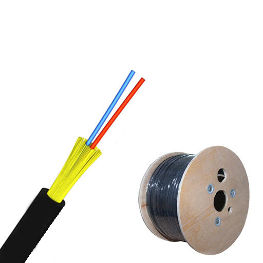 1km Roll | Single Mode Round Outdoor Fiber Optic Cable | 2 Core w/Kevlar Strength Members