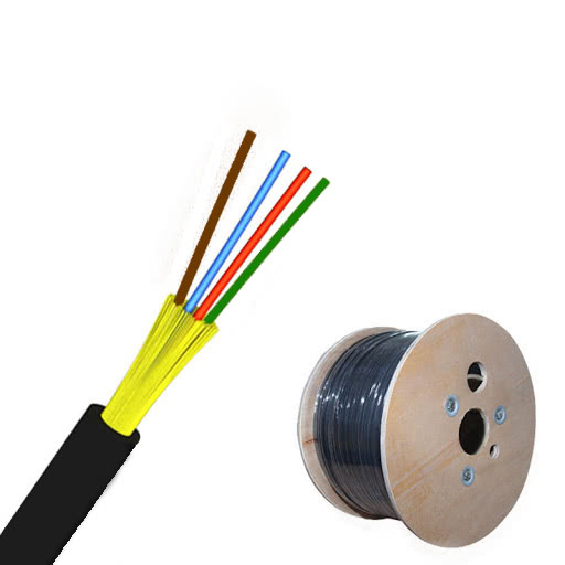 1km Roll | Single Mode Round Outdoor Fiber Optic Cable | 4 Core w/Kevlar Strength Members